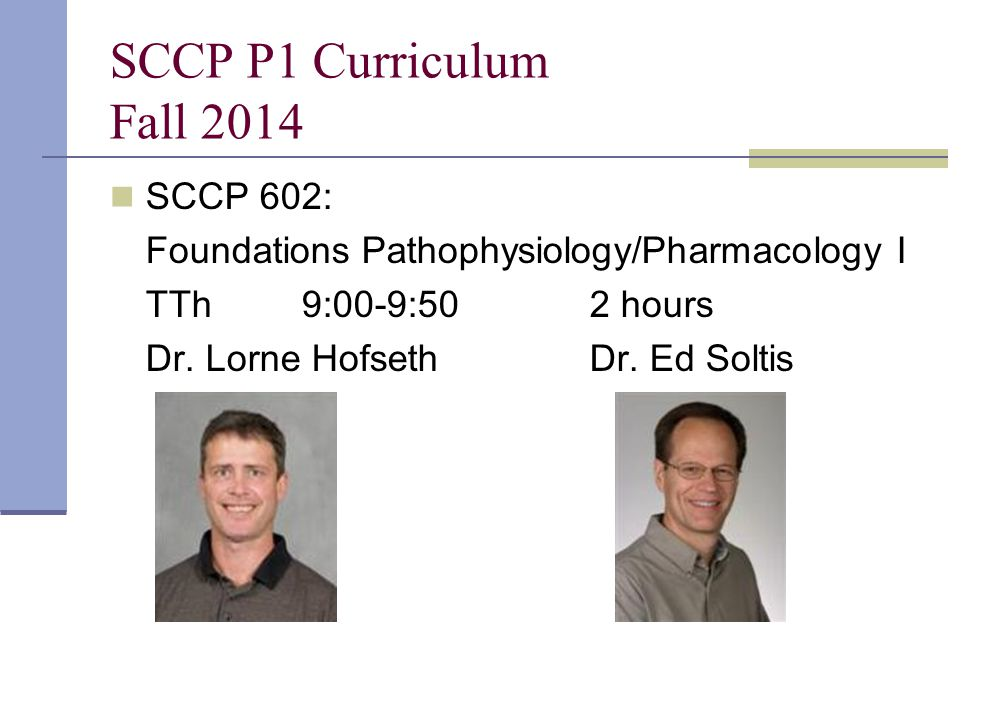 SCCP P1 Curriculum Fall 2014 SCCP 602: