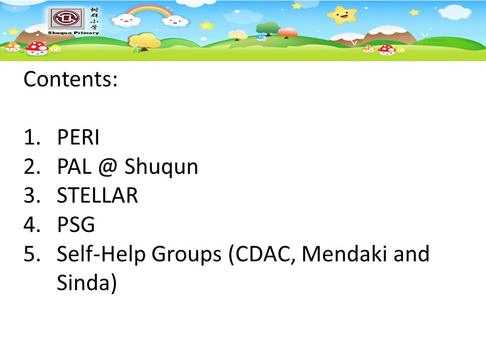 Self-Help Groups (CDAC, Mendaki and Sinda)