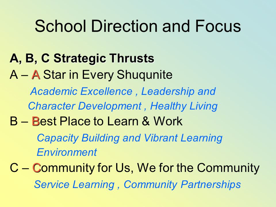 School Direction and Focus