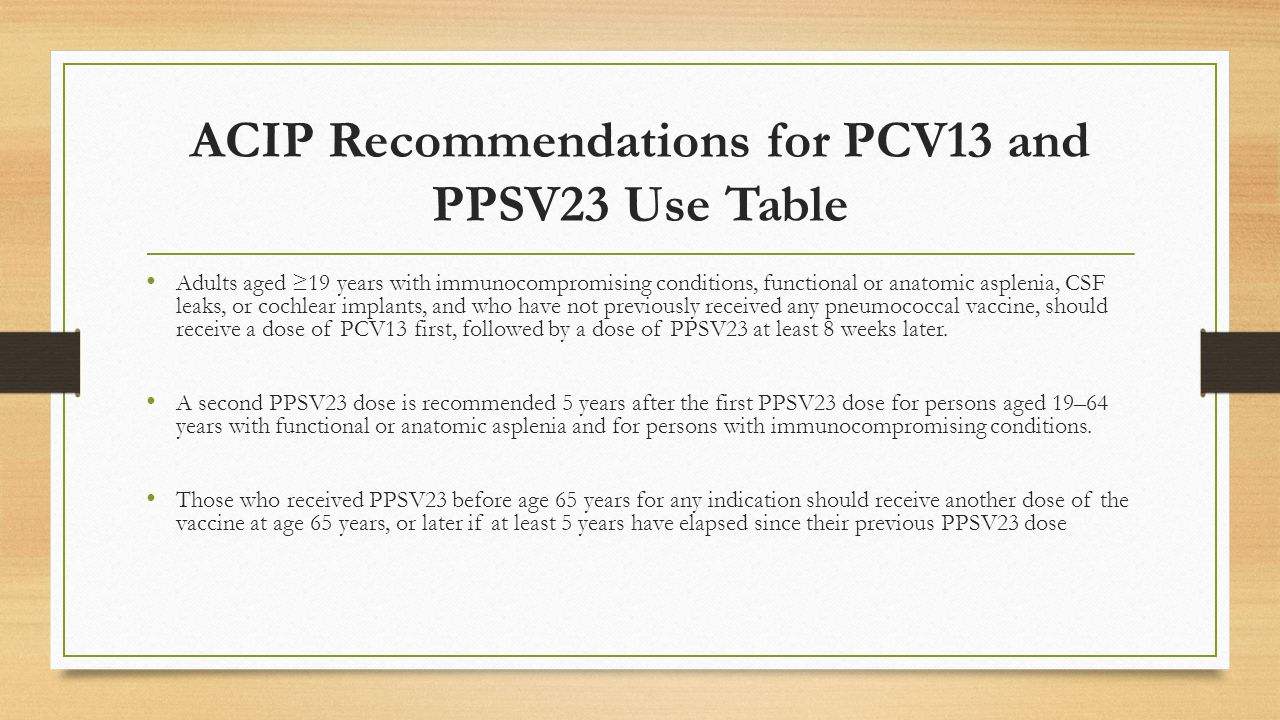 ACIP Recommendations for PCV13 and PPSV23 Use Table