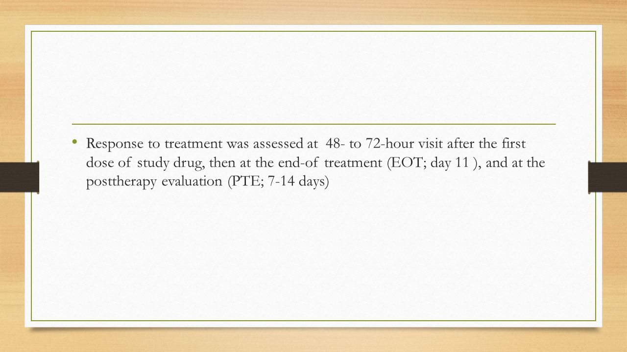 Response to treatment was assessed at 48- to 72-hour visit after the first dose of study drug, then at the end-of treatment (EOT; day 11 ), and at the posttherapy evaluation (PTE; 7-14 days)