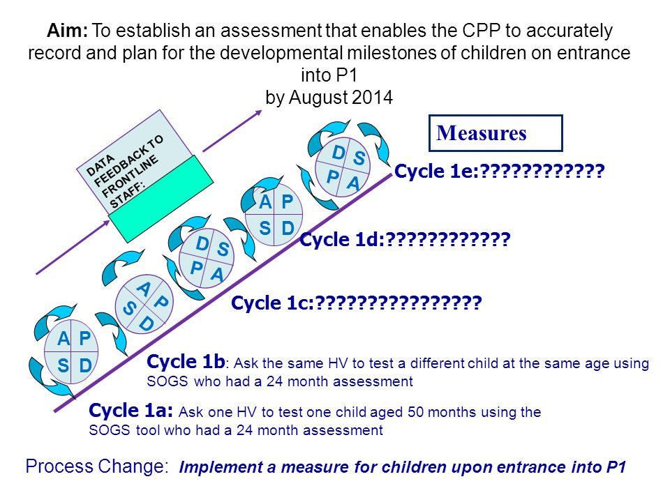 Aim: To establish an assessment that enables the CPP to accurately record and plan for the developmental milestones of children on entrance into P1 by August 2014