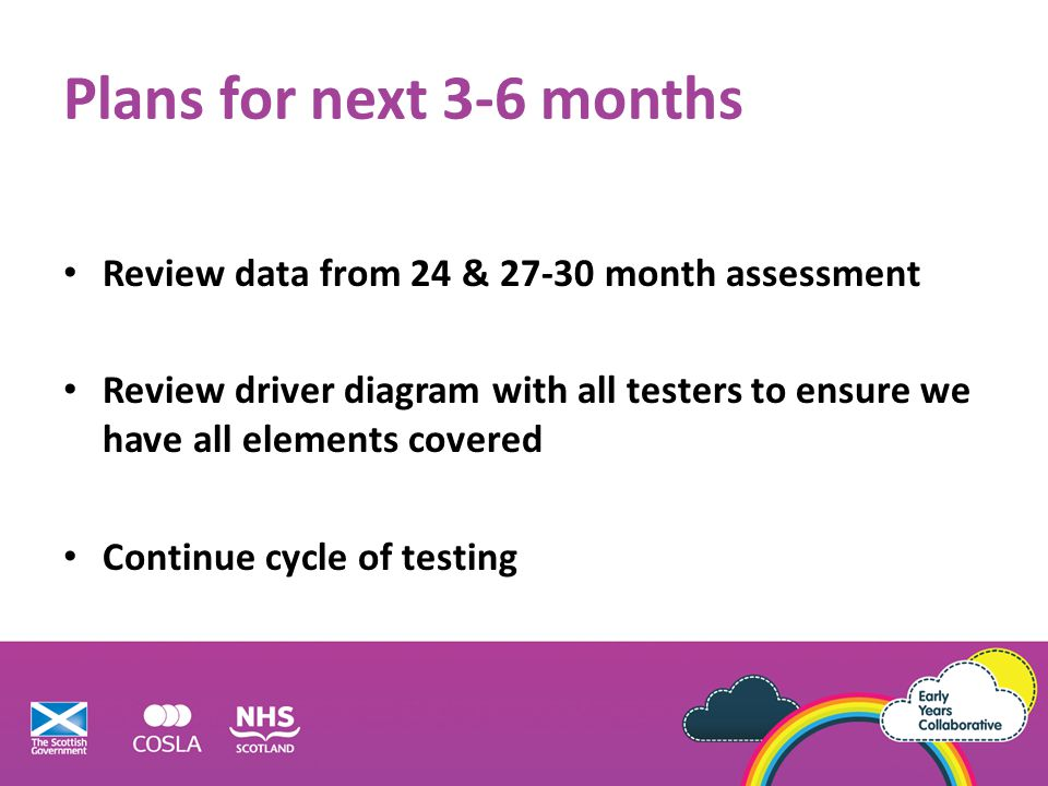 Plans for next 3-6 months Review data from 24 & 27-30 month assessment