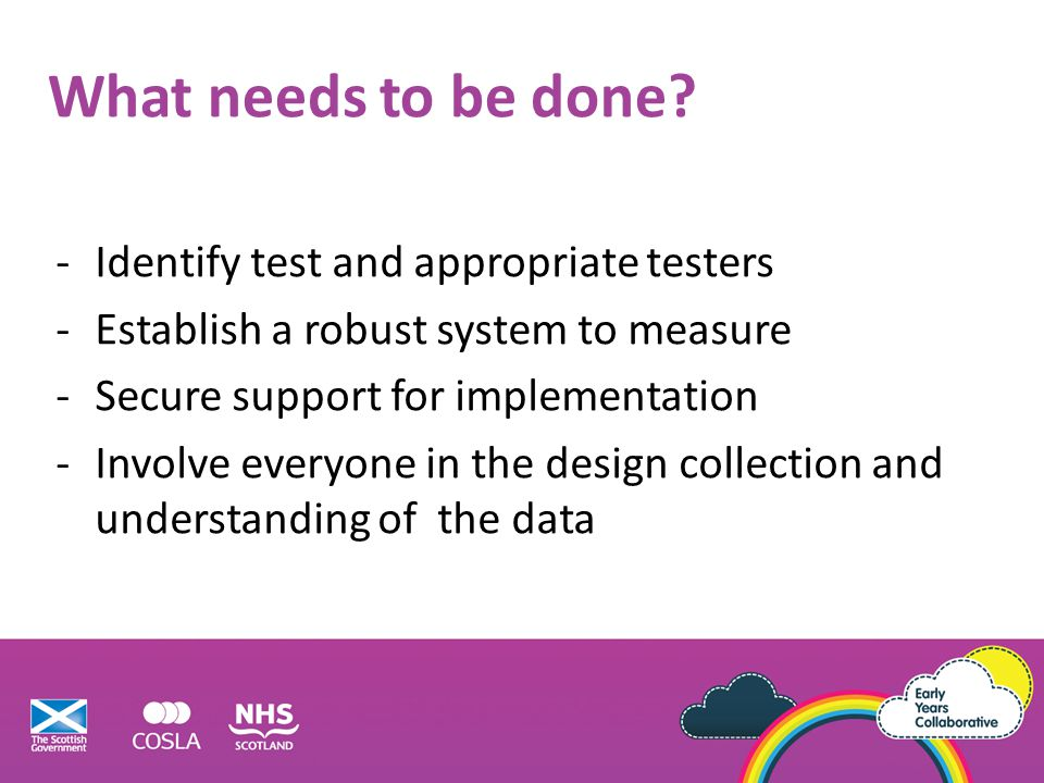 What needs to be done Identify test and appropriate testers