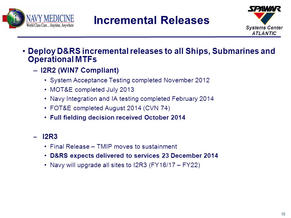 Incremental Releases Deploy D&RS incremental releases to all Ships, Submarines and Operational MTFs.