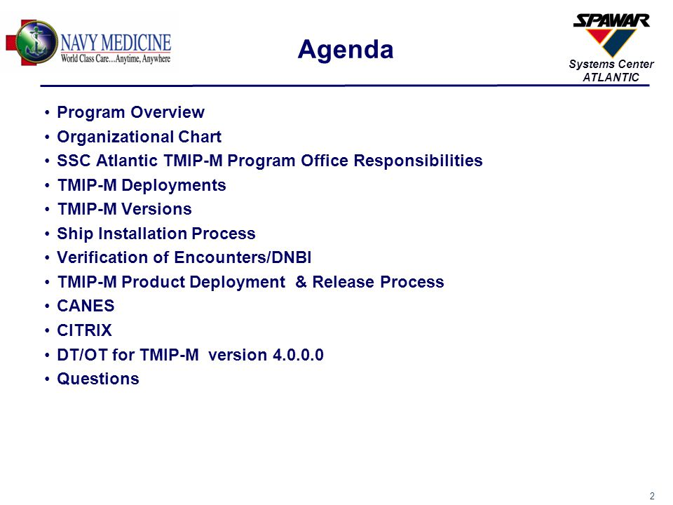 Agenda Program Overview Organizational Chart