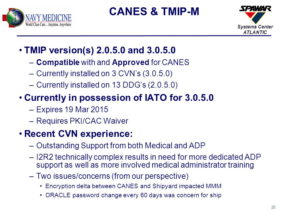 CANES & TMIP-M TMIP version(s) 2.0.5.0 and 3.0.5.0