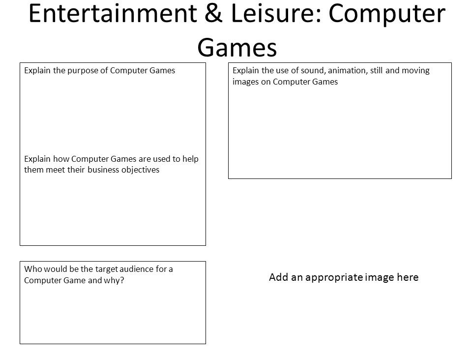 Entertainment & Leisure: Computer Games