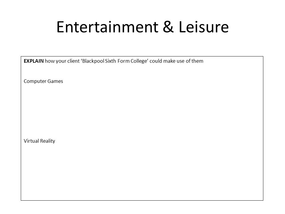 Entertainment & Leisure