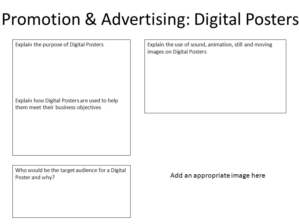 Promotion & Advertising: Digital Posters
