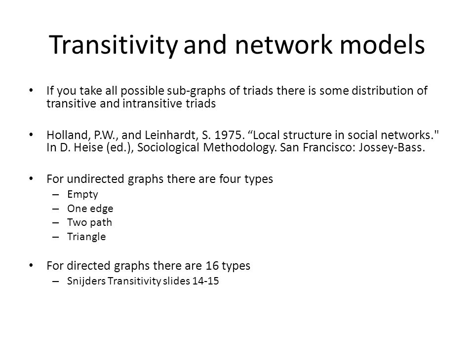 Transitivity and network models