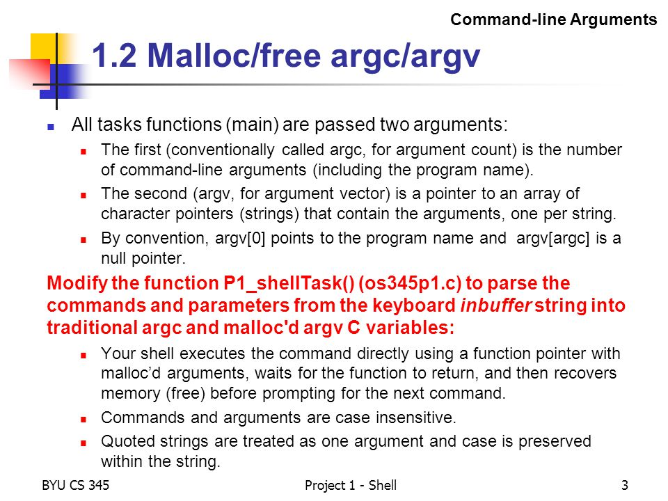 1.2 Malloc/free argc/argv
