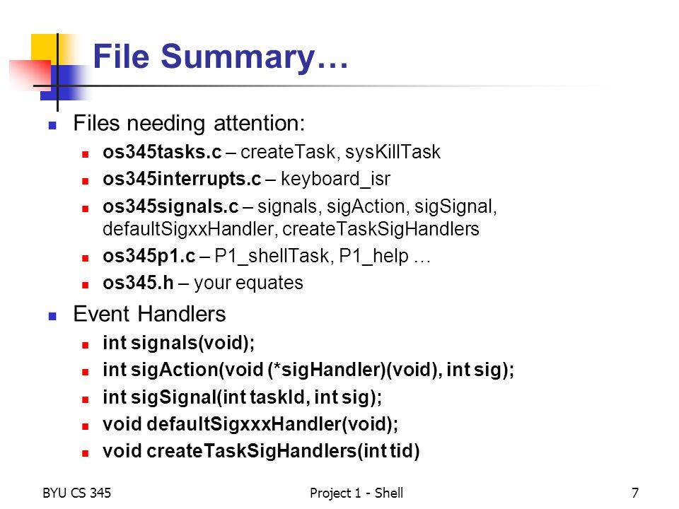 File Summary… Files needing attention: Event Handlers