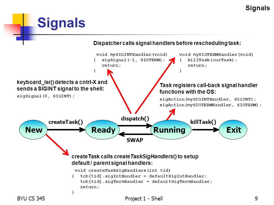 Signals New Ready Running Exit Signals