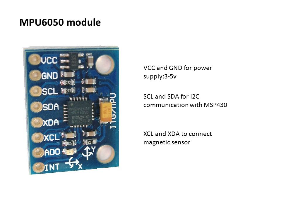 MPU6050 module VCC and GND for power supply:3-5v