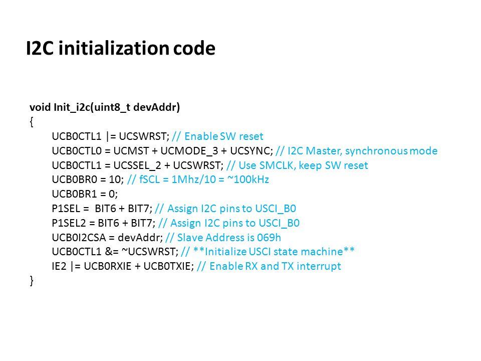 I2C initialization code
