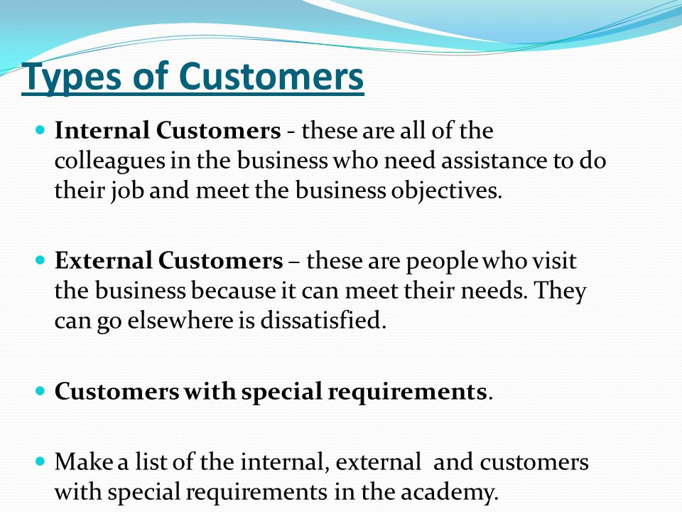 Types of external customers