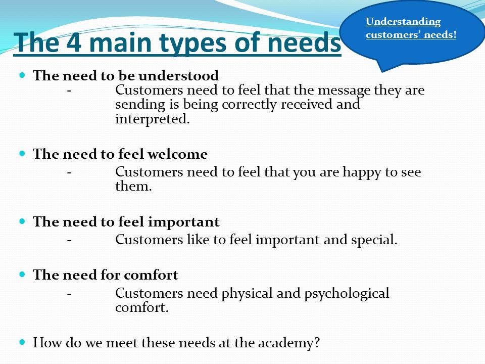 Understanding customers' needs!