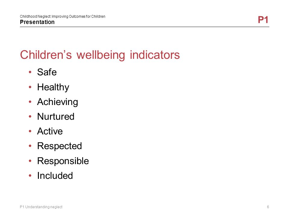 Children's wellbeing indicators