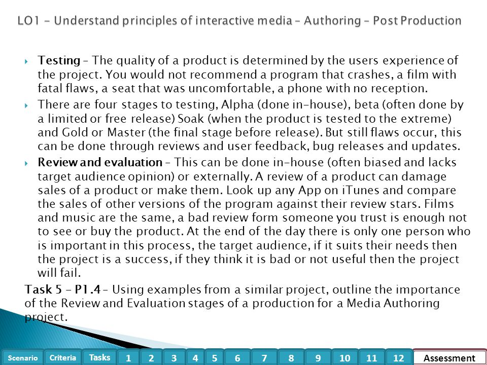 LO1 - Understand principles of interactive media – Authoring – Post Production