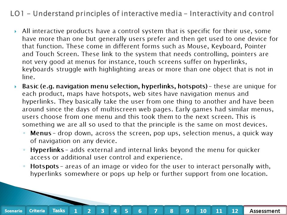 LO1 - Understand principles of interactive media - Interactivity and control