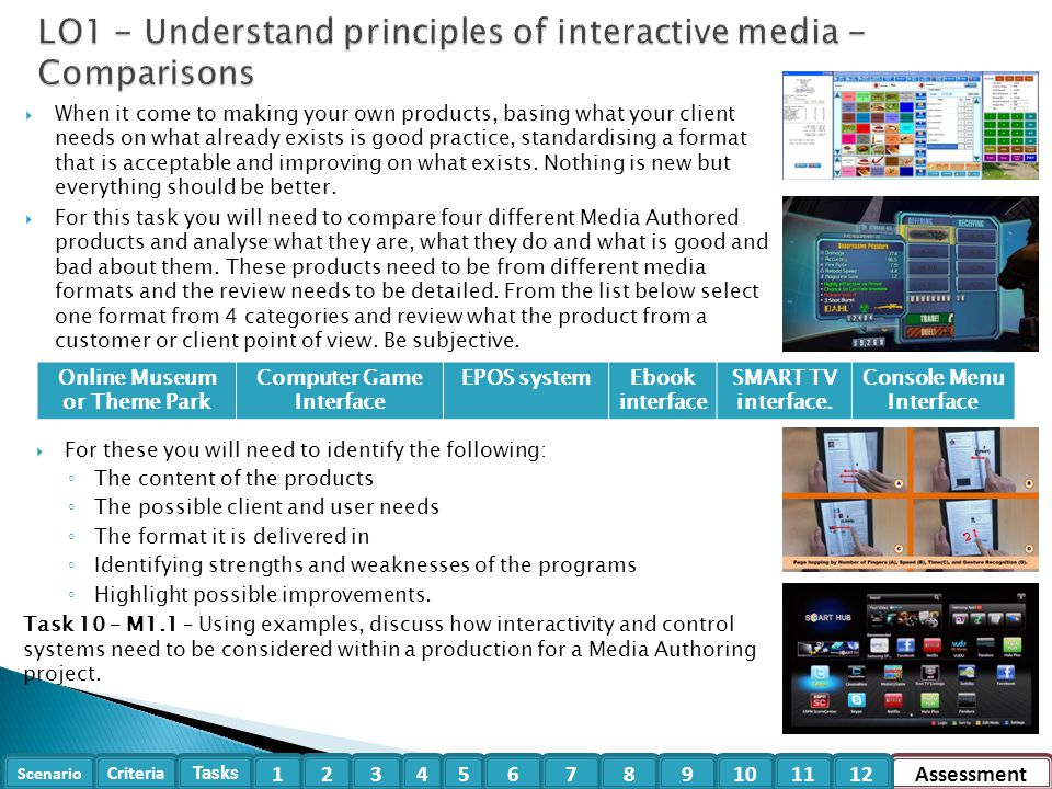 LO1 - Understand principles of interactive media - Comparisons