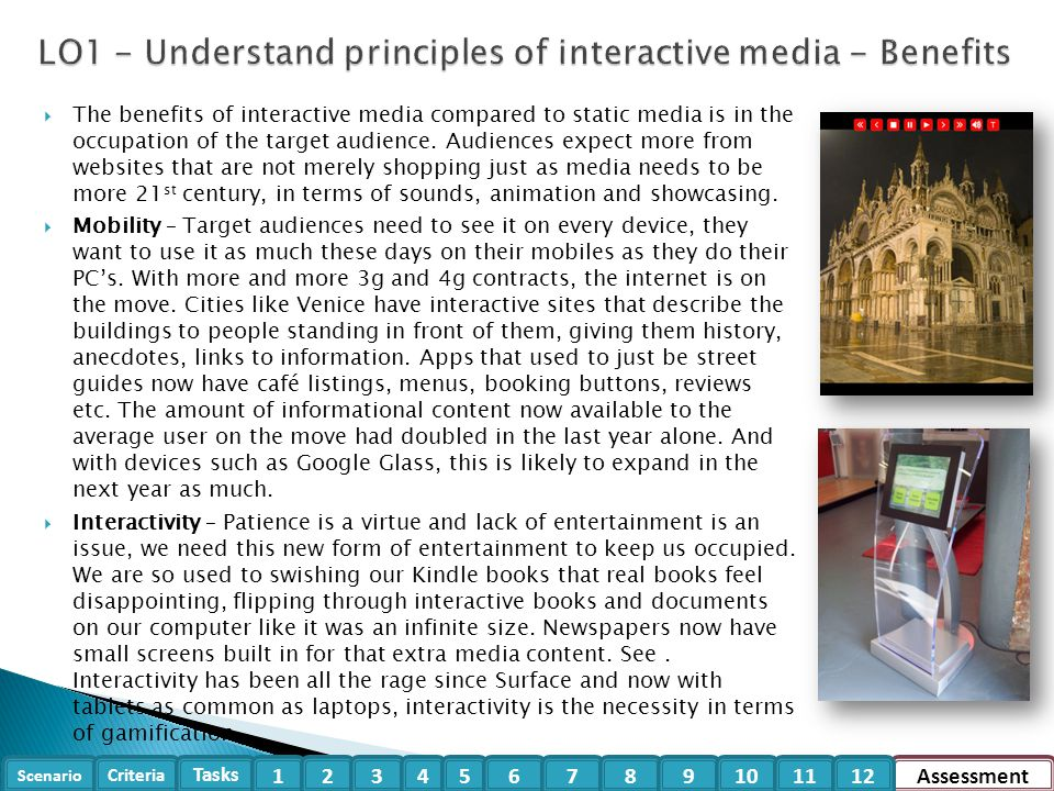 LO1 - Understand principles of interactive media - Benefits