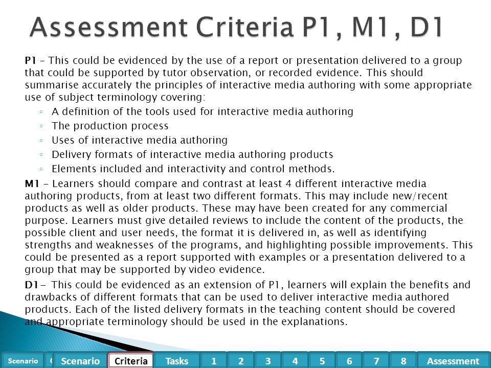Assessment Criteria P1, M1, D1