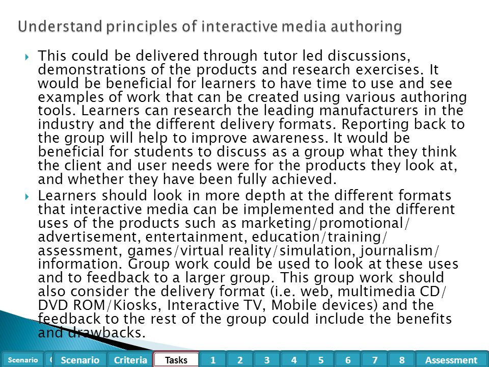 Understand principles of interactive media authoring