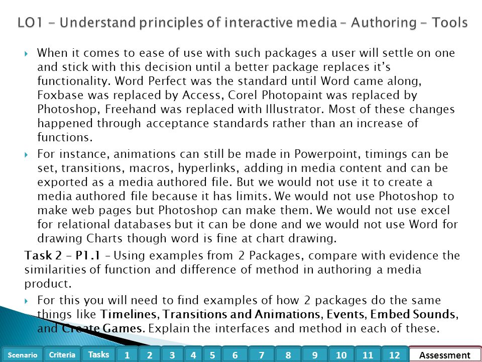 LO1 - Understand principles of interactive media – Authoring - Tools