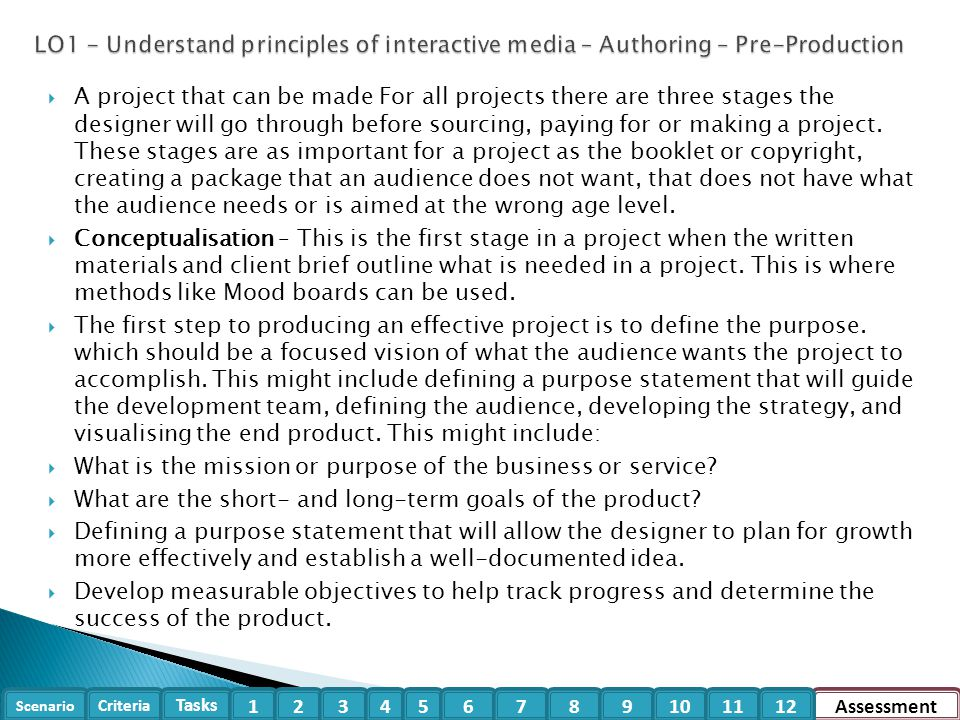 LO1 - Understand principles of interactive media – Authoring – Pre-Production