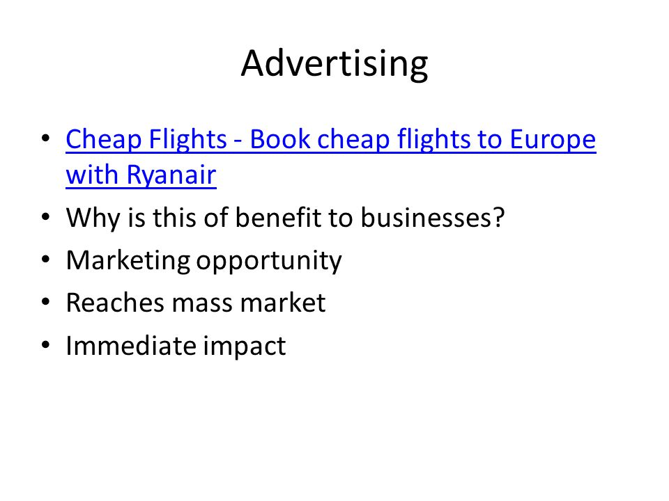 Advertising Cheap Flights - Book cheap flights to Europe with Ryanair