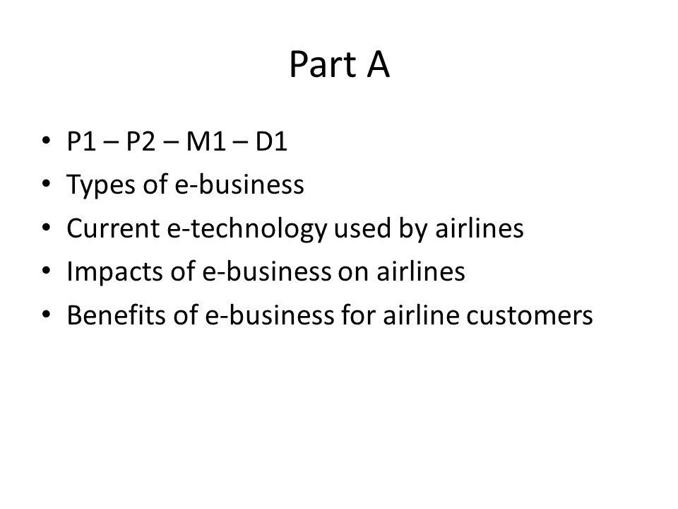 Part A P1 – P2 – M1 – D1 Types of e-business