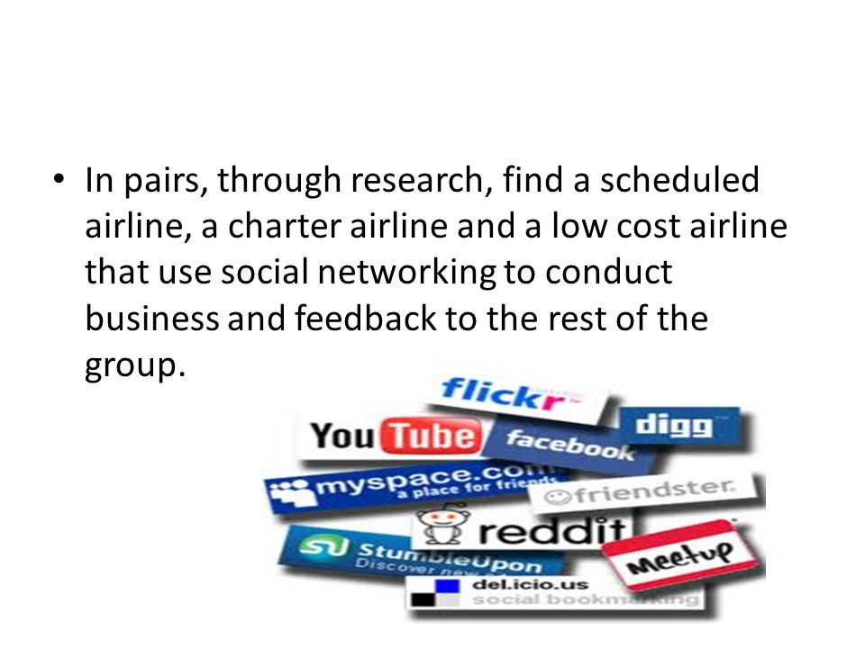 In pairs, through research, find a scheduled airline, a charter airline and a low cost airline that use social networking to conduct business and feedback to the rest of the group.