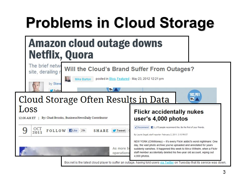 Problems in Cloud Storage