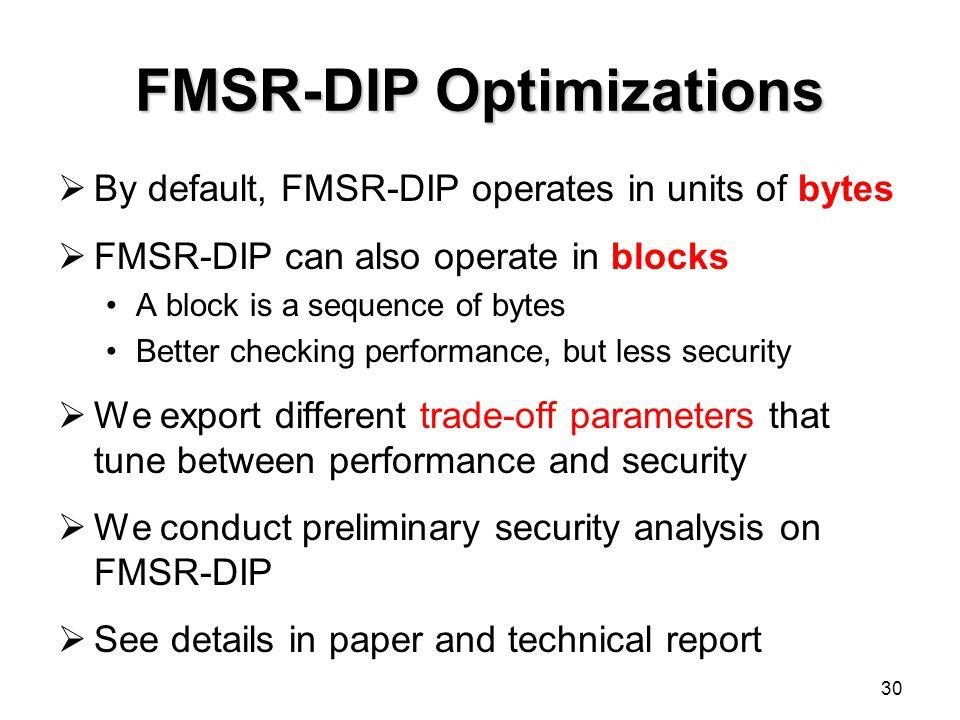 FMSR-DIP Optimizations