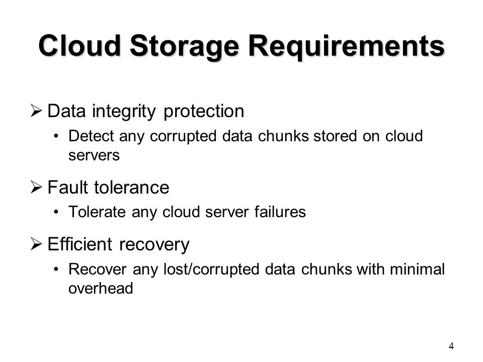 Cloud Storage Requirements