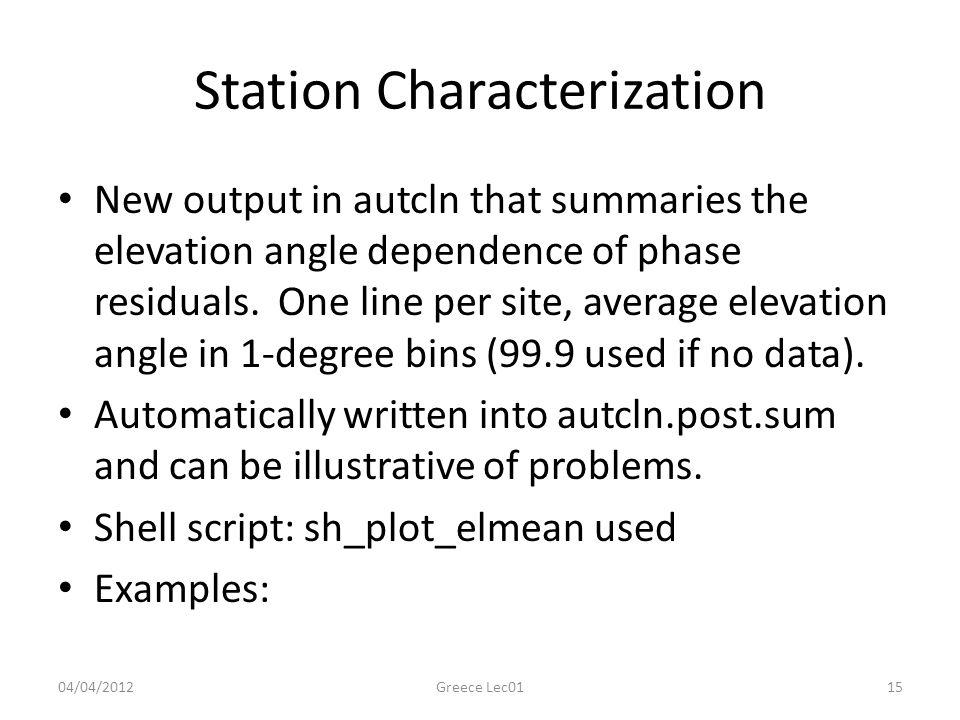 Station Characterization