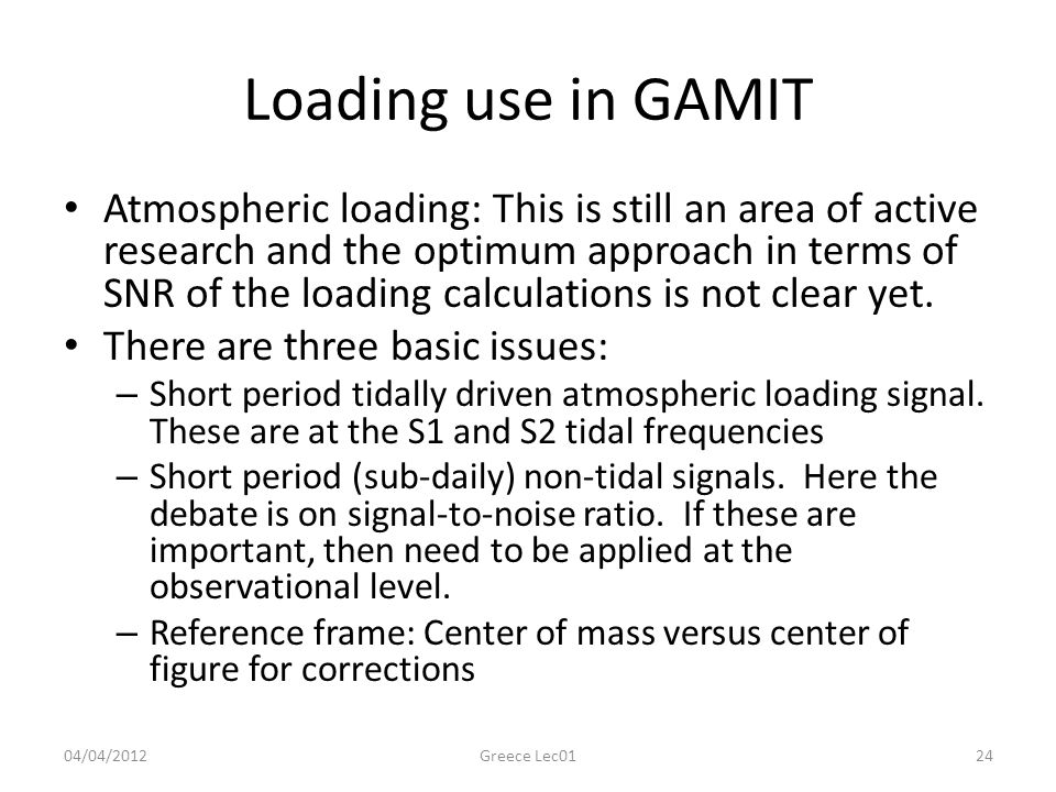 Loading use in GAMIT