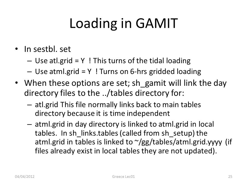 Loading in GAMIT In sestbl. set