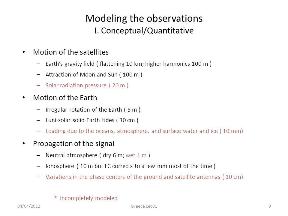 Modeling the observations I. Conceptual/Quantitative