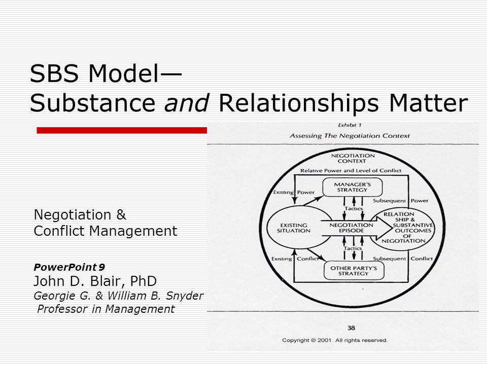 SBS Model— Substance and Relationships Matter