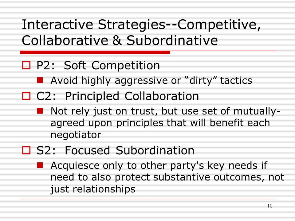 Interactive Strategies--Competitive, Collaborative & Subordinative