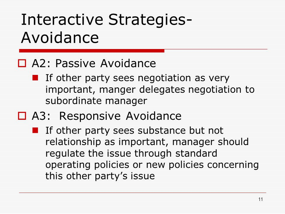 Interactive Strategies-Avoidance