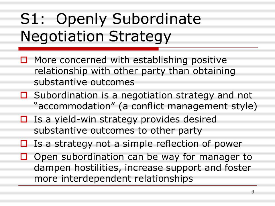 S1: Openly Subordinate Negotiation Strategy