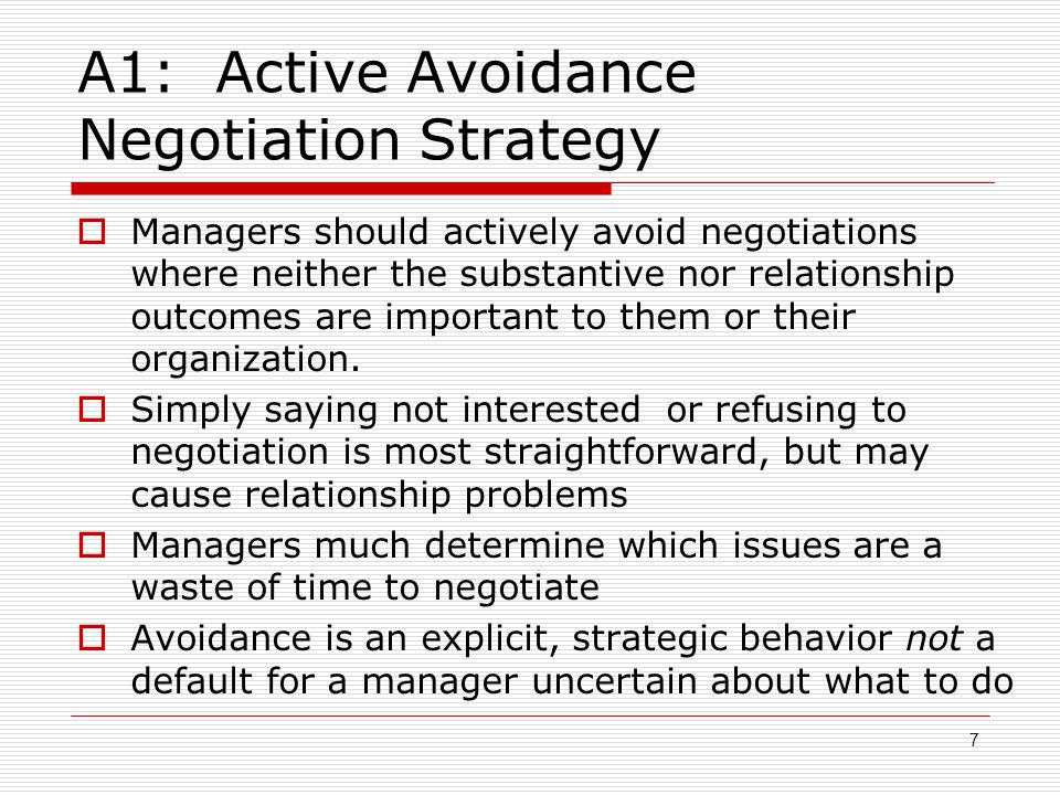 A1: Active Avoidance Negotiation Strategy