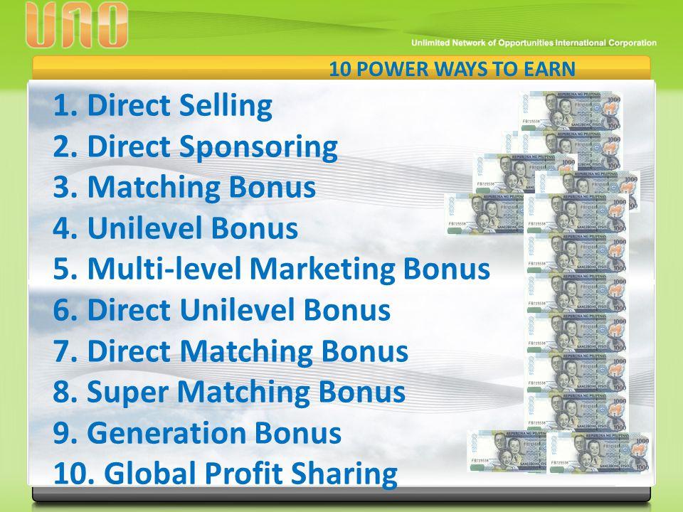 5. Multi-level Marketing Bonus 6. Direct Unilevel Bonus