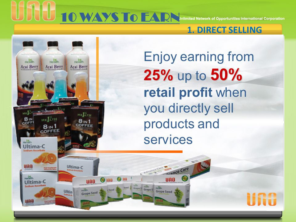 10 WAYS To EARN 1. DIRECT SELLING.