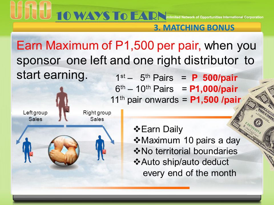 10 WAYS To EARN 3. MATCHING BONUS. Earn Maximum of P1,500 per pair, when you sponsor one left and one right distributor to start earning.