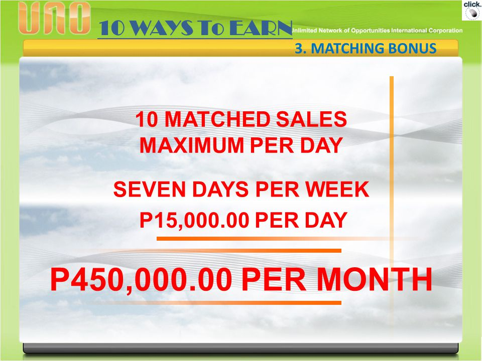 P450,000.00 PER MONTH 10 WAYS To EARN 10 MATCHED SALES MAXIMUM PER DAY